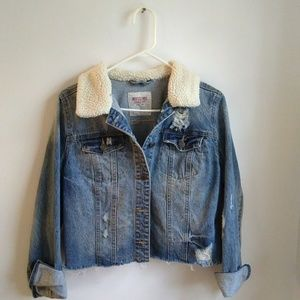Mossimo | Distressed Denim Jacket Sherpa Collar